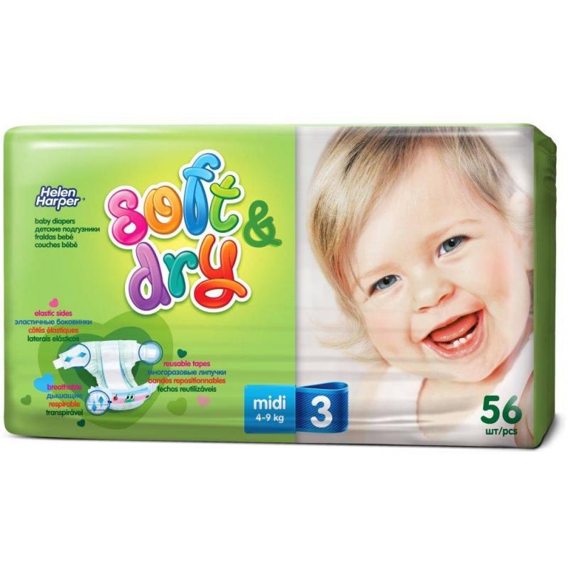 Подгузники Soft & Dry midi 4-9 кг 56 шт