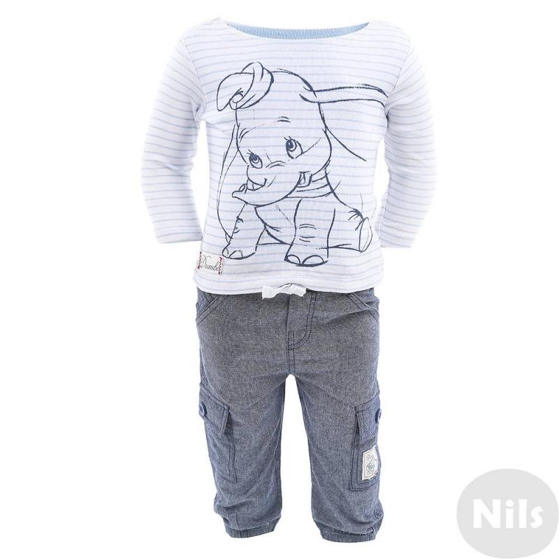 КомплектКомплект из двойной кофточки с длинным рукавом и брюкмарки FOX.Кофточка с изображением слонёнка из мультика Dumbo выполнена из хлопкового трикотажа и имеет имитацию заплаток на локтях. Нижний слой голубого цвета застегивается на кнопки снизу как боди, верхний слой в полоску сшит в виде кофточки с длинным рукавом, которая носится навыпуск. Брючки выполнены из хлопка, на них есть четыре кармана.<br><br>Размер: 18 месяцев<br>Цвет: Голубой<br>Рост: 86<br>Пол: Для мальчика<br>Артикул: 609971<br>Страна производитель: Китай<br>Сезон: Весна/Лето<br>Состав: 100% Хлопок<br>Бренд: Израиль